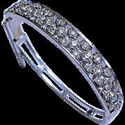 Art Deco Diamond 14K White Gold Vintage Bangle Bracelet