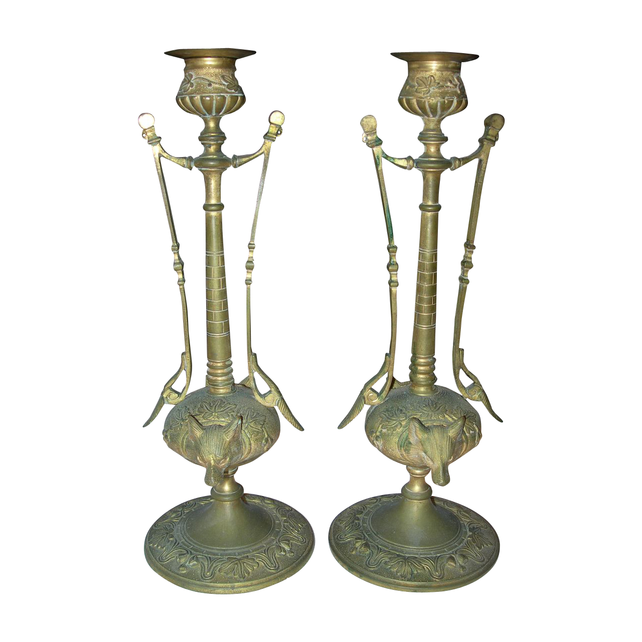 Pair of Antique Art Nouveau French Gilt Bronze Candlesticks