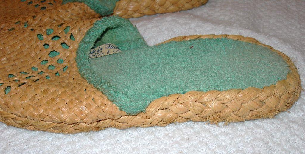 Vintage Raffia Woven Slipper