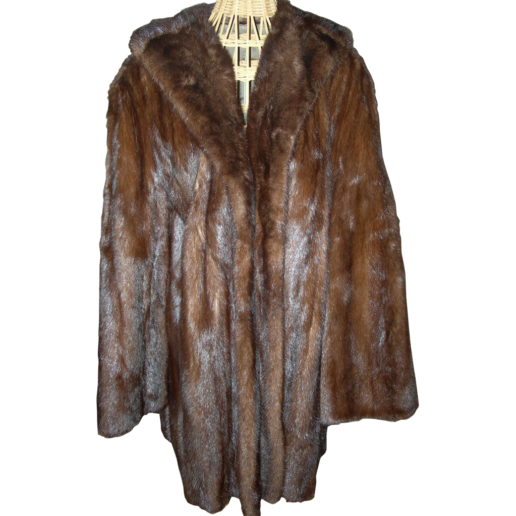 Dark Ranch Mink Coat with beautifully embroidered lining...