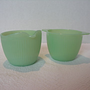 Fire King Jadite Cream and Sugar Set - Red Tag Sale Item