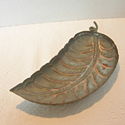 Vintage Leaf Shaped Copper Footed Bowl