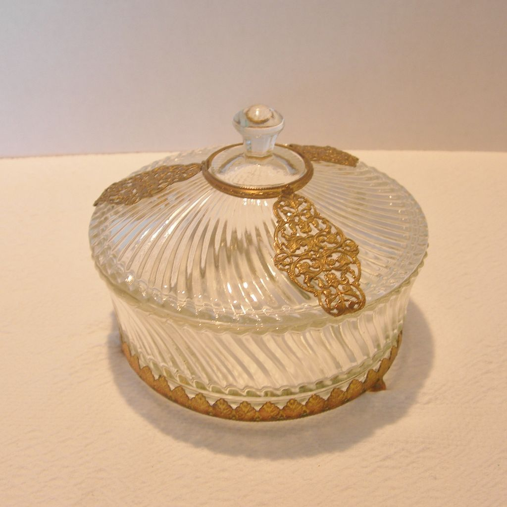 Vintage Covered Vanity Powder Jar/Bowl