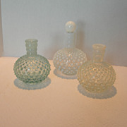 Set of 3 Vintage Hobnail Barber Jars