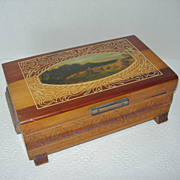 Old Wooden Decorated Mirrored Box