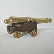 Vintage Miniature Brass Cannon