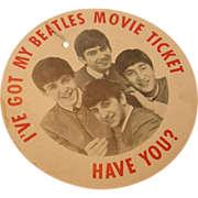 1964 Beatles Movie Hanging Button Tag