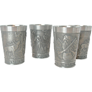 Set of 4 Pewter German Tumblers