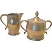 Vintage PLYMOUTH PEWTER Sugar and Creamer Set