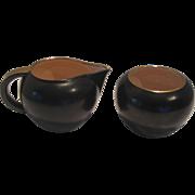 Vintage Black Ceramic Cream and Sugar