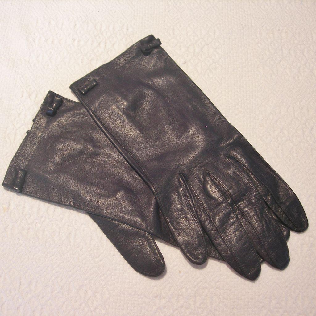 Vintage Kidskin Leather Wrist Gloves