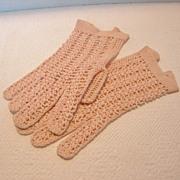 Vintage French Hand Crochet Wrist Gloves