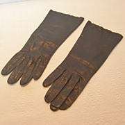 Vintage B. Altman Grandoe Navy Blue Leather Gloves