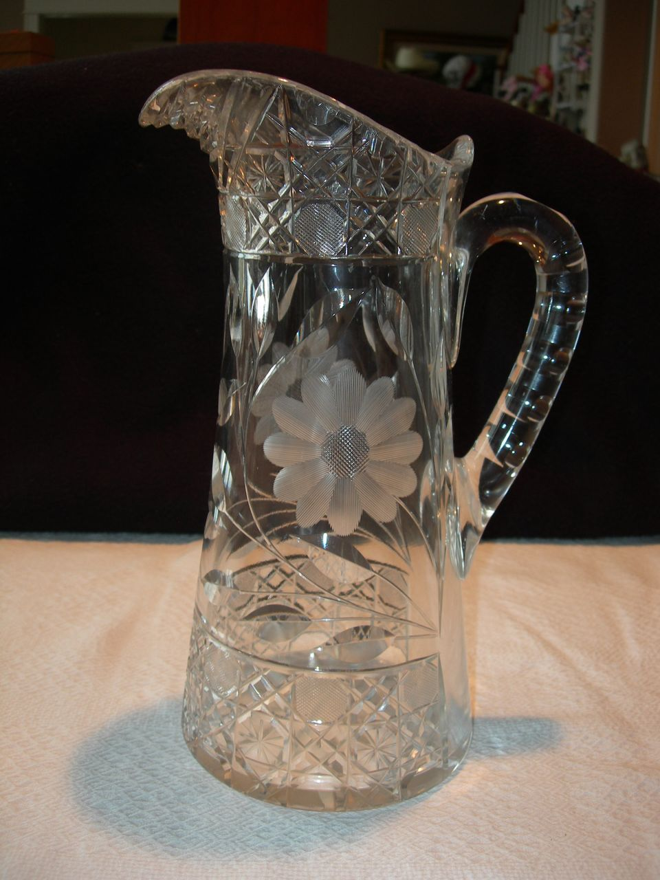 Czechoslovakian Cut Glass Pitcher