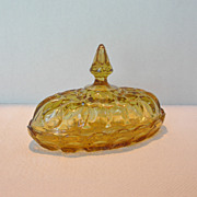 Anchor Hocking Amber Glass Butter Dish