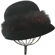 Vintage French Velvet Felt Women's Cloche With Faux Fur, by Mr. John