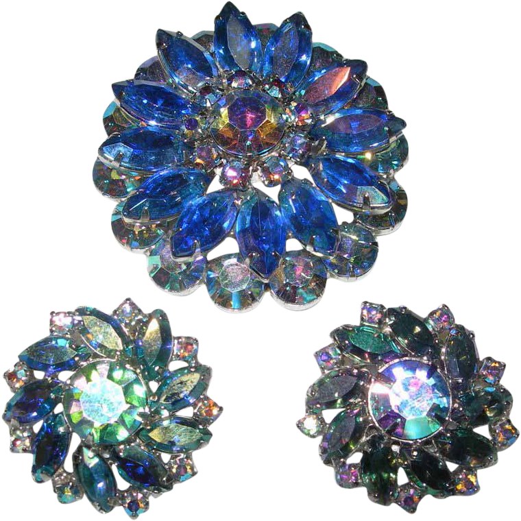 Aurora Brooch and Earring Set