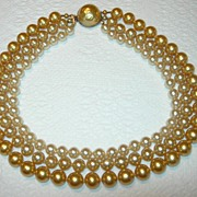Triple Strand Imitation Pearl Baroque Necklace