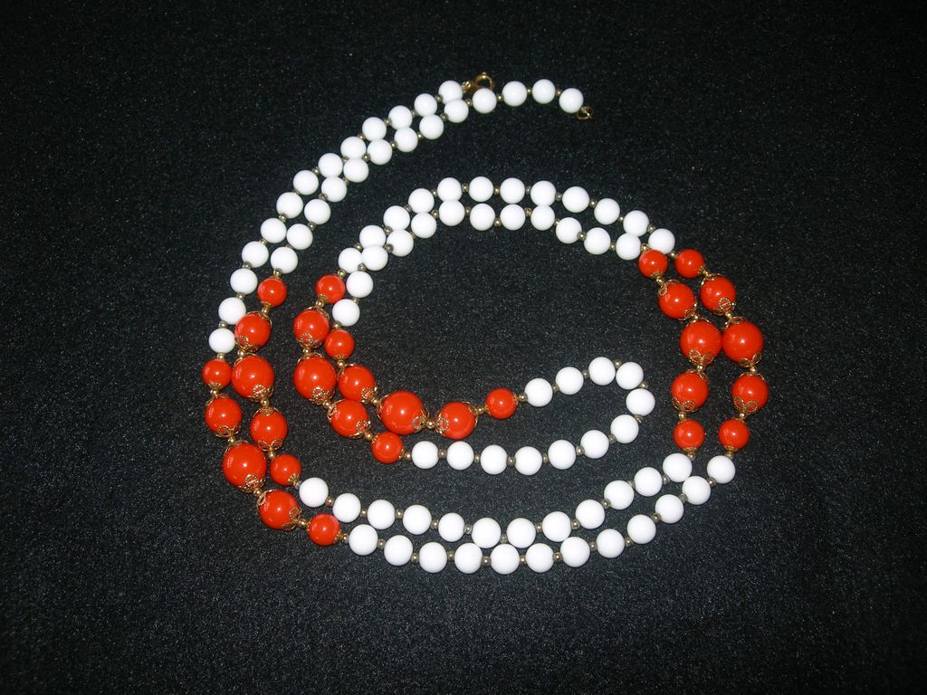 Long White & Orange Beaded Necklace