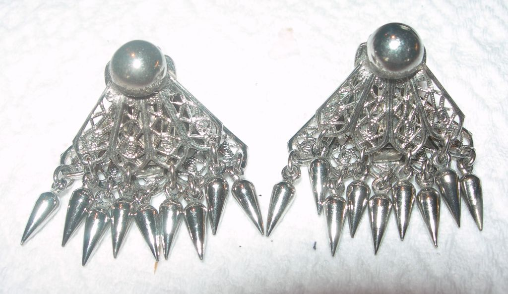 Silver Toned Filagree Fan Earrings