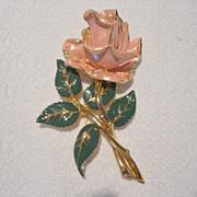 Vintage 4 inch Enamel Rose Brooch