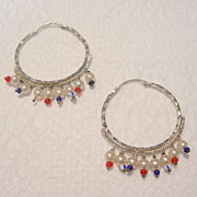 Vintage Silver Toned Hoop Earrings