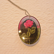 1950's Lucite Reverse Painted Pink Roses Pendant & Earrings Set