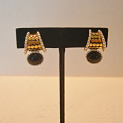 Two Tone Metal & Black Stone Premier Design Clip Earrings