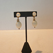 Vintage Monet White Plastic Dangle Clip Earrings