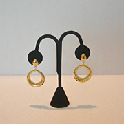 Vintage Trifari Gold-Tone Drop Hoop Clip-on Earrings