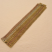Vintage Mexican Sterling Silver Tri-Colored Chain Mail Bracelet