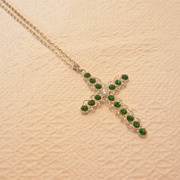 Vintage Silver Tone Metal & Green Glass Cross Necklace