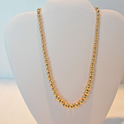 Vintage 12K Gold Plated Bead Necklace