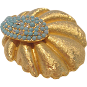 Vintage BSK Gold-tone and Turquoise Brooch