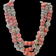 Vintage Hobe' 3 Strand Glass & Metal Bead Necklace