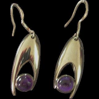 Vintage Sigi Pineda Silver and Amethyst Earrings