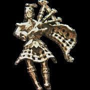 Vintage Danecraft Silver Bagpiper Brooch