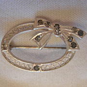 Sterling Silver and Glass Brooch
