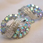 Vintage Aurora Borealis Clip Earrings by Coro