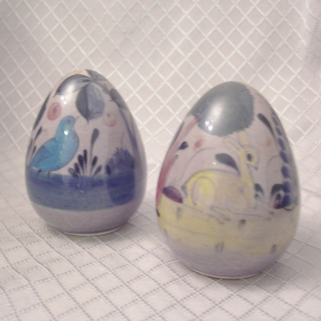 Pair of Mexican Folk Art Ceramic Eggs
