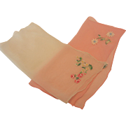 Vintage Embroidered Silk and Rayon Hankerchief