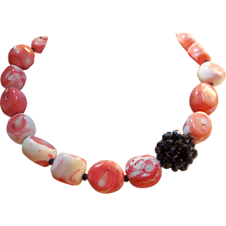 Artisan Necklace of Pink / Salmon Colored Coral Nuggets with Black Crystal Focal Bead