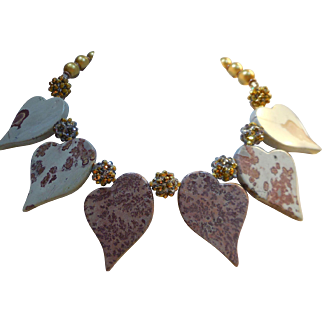 Earthtone Artisan Necklace of Jasper Hearts Crystal Clusters and Vintage Beads - Browns and Golds