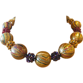 Artisan Multi Color Striped Necklace Gold Purple Red Black Very Unusual