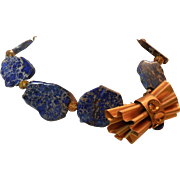 Blue Agate Artisan Necklace featuring a Vintage Italian Gold Tone Brooch
