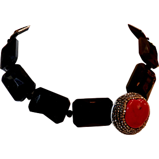 Black Glass necklace with Coral Focal Bead - One of a Kind