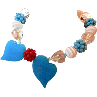 Blue Chinese Jade Necklace with Lucite and Crystal - Unique and Charming