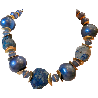 Blue Agate Artisan Necklace with crystal encrusted beads, Cotton Pearls and Lucite