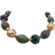Artisan Necklace of Blue Vintage Porcelain Beads / Gold Ton Beads. One of a Kind