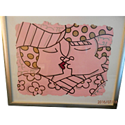 "Romero Britto Serigraph #17 of 35 ""You are so Wonderful"" in pink and black - Framed"